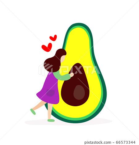 Young girl hugging big avocado 66573344