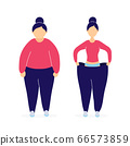 Fat and slim woman before and after weight loss 66573859