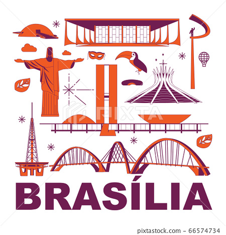 Brasilia culture travel set, famous architectures and specialties in flat design. Business Brazilian tourism concept clipart. Image for presentation, banner, website, advert, flyer, roadmap, icons 66574734