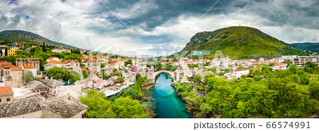 Old town of Mostar with famous Old Bridge (Stari Most), Bosnia and Herzegovina 66574991