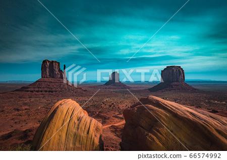 Monument Valley in moonlight, Arizona, USA 66574992