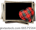 Stack of old vintage photo frames and a fabric heart shape 66575564