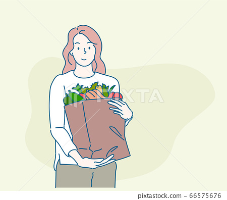 Young woman holding paper shopping bag full of fresh vegetables and smiling. Sustainable lifestyle concept. Hand drawn in thin line style, vector illustrations. 66575676