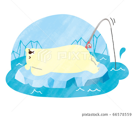 北極熊夏天水彩釣魚 66578559