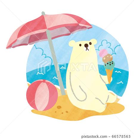 北極熊夏天水彩沙灘01 66578563