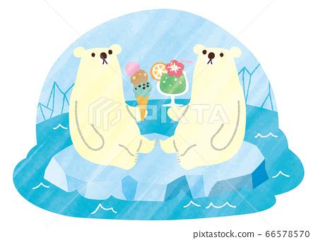 北極熊夏天水彩飲料和冰 66578570