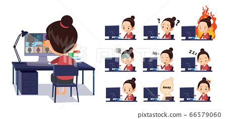 學生在家上在線課。各種情感表達 66579060