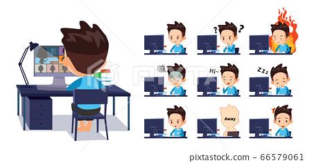 學生在家上在線課。各種情感表達 66579061