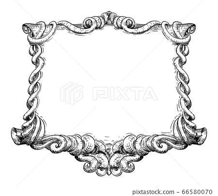 Vector Hand Drawn Vintage Old Ornamental Frame Design of Fantasy Scroll with Decoration Around. 66580070