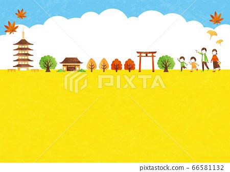 秋天的廟宇框架 66581132