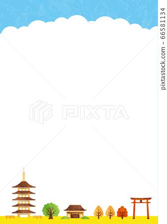 秋天的廟宇框架 66581134