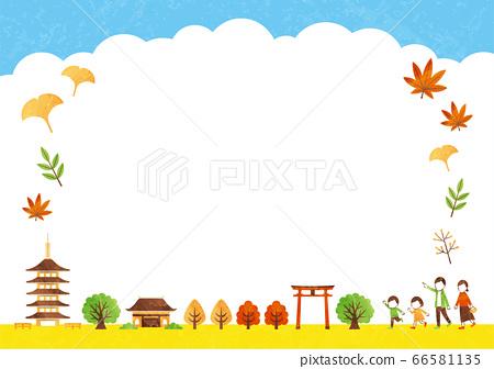 秋天的廟宇框架 66581135
