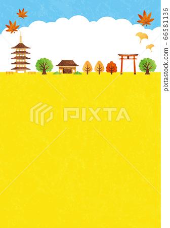 秋天的廟宇框架 66581136