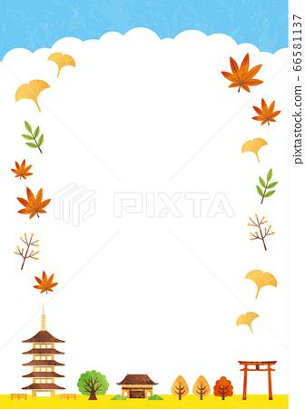 秋天的廟宇框架 66581137