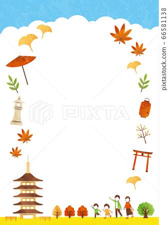 秋天的廟宇框架 66581138