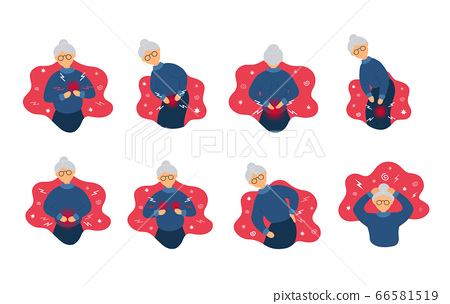 Collection of old woman with different pains 66581519