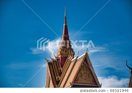 Wat Preah Prom Rath a beautiful historical Buddhist temple complex with colorful pagodas on sizable grounds with gardens 66581946