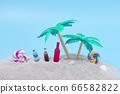 棕櫚樹和沙灘上的飲料 66582822