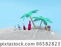 棕櫚樹和沙灘上的飲料 66582823