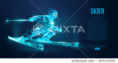 Abstract silhouette of a skier jumping from particles on blue background. All elements on a separate layers color can be changed to any other. Low poly neon wire outline geometric. Vector ski 66583008