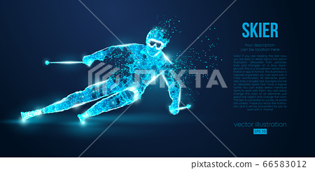 Abstract silhouette of a skier jumping from particles on blue background. All elements on a separate layers color can be changed to any other. Low poly neon wire outline geometric. Vector ski 66583012