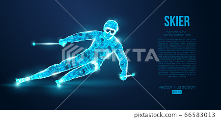 Abstract silhouette of a skier jumping from particles on blue background. All elements on a separate layers color can be changed to any other. Low poly neon wire outline geometric. Vector ski 66583013