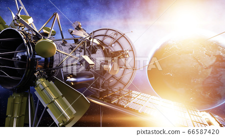 Satellite in space. view of the earth. Sunrise. 3d rendering. 66587420
