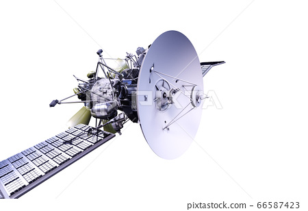 Satellite in space. Isolate on white. 3d rendering. 66587423