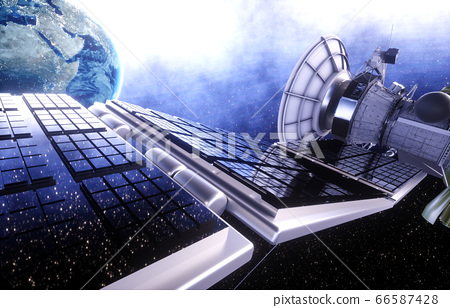 Satellite in space. view of the earth. Sunrise. 3d rendering. 66587428