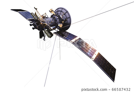 Satellite in space. Isolate on white. 3d rendering. 66587432