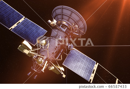 Satellite in space. view of the earth. Sunrise. 3d rendering. 66587433