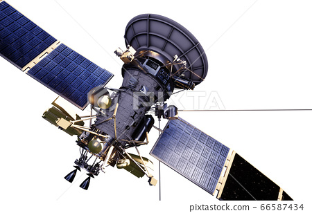 Satellite in space. Isolate on white. 3d rendering. 66587434
