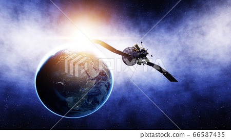 Satellite in space. view of the earth. Sunrise. 3d rendering. 66587435