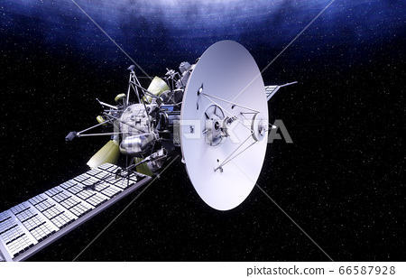 Satellite in space. view of the earth. Sunrise. 3d rendering. 66587928