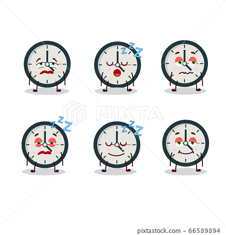Cartoon character of clock with sleepy expression 66589894