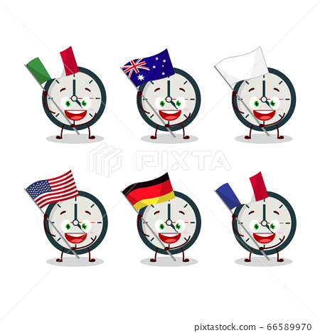 Clock cartoon character bring the flags of various countries 66589970