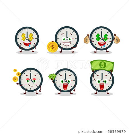 Clock cartoon character with cute emoticon bring money 66589979