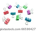 color binder clips on white background 66590427