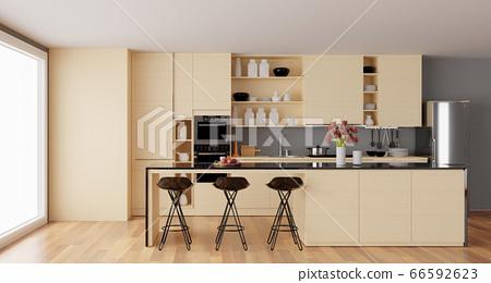 Interior of a beige modern kitchen with island 3d 66592623