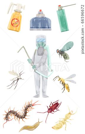滅絕工人和害蟲水彩手繪插圖 66596672