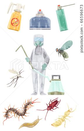滅絕工人和害蟲水彩手繪插圖 66596673