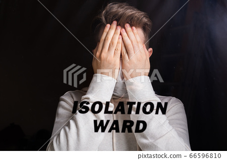 Hospital quarantine or isolation of patient standing alone in room with hopeful for treatment of Coronavirus COVID-19 Pandemic, Outbreak Efforts prevent virus spreading hazard controls concept. 66596810