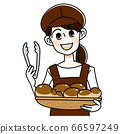 Bakery woman with tongs 66597249