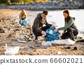 Team of dedicated and smiling volunteers collecting garbage at beach 66602021