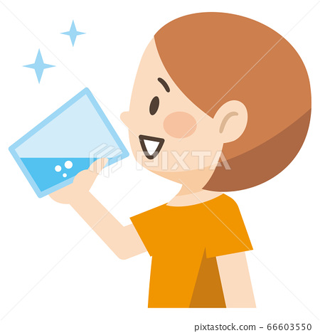 Illustration of a girl drinking a glass of water 66603550