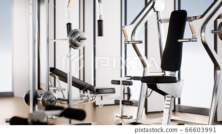 3D rendering of exercise equipment in gym with 66603991