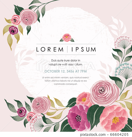 Vector illustration of a beautiful floral frame with spring flowers. Design for banner, poster, card, invitation and scrapbook 66604205