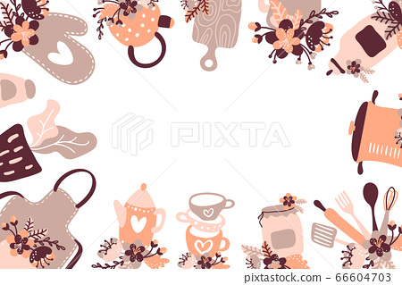 Vintage food and cooking background with kitchen tools, ingredients and words in a square frame with place for your text 66604703