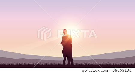 couple in love on mountain landscape at sunshine 66605130