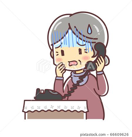 고정 전화 통화 고령의 여성 (걱정) 66609626